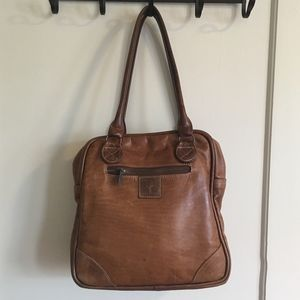 Camel leather zippered tote